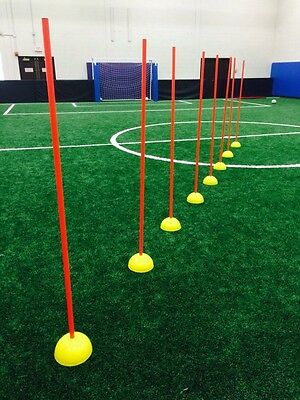 Set of 8 Complete Poles with base speed  AGILITY TRAINING COACHING slalom soccer
