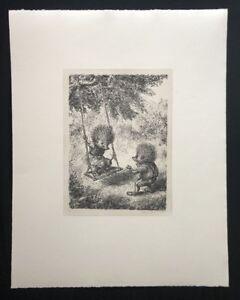 A-Paul-Weber-Schaukel-aus-dem-Nachlass-Lithographie-1980-Signaturstempel