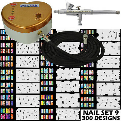 Heart Air Compressor Dual-Action Airbrush Kit & 300 Nail Art Stencil Designs Set