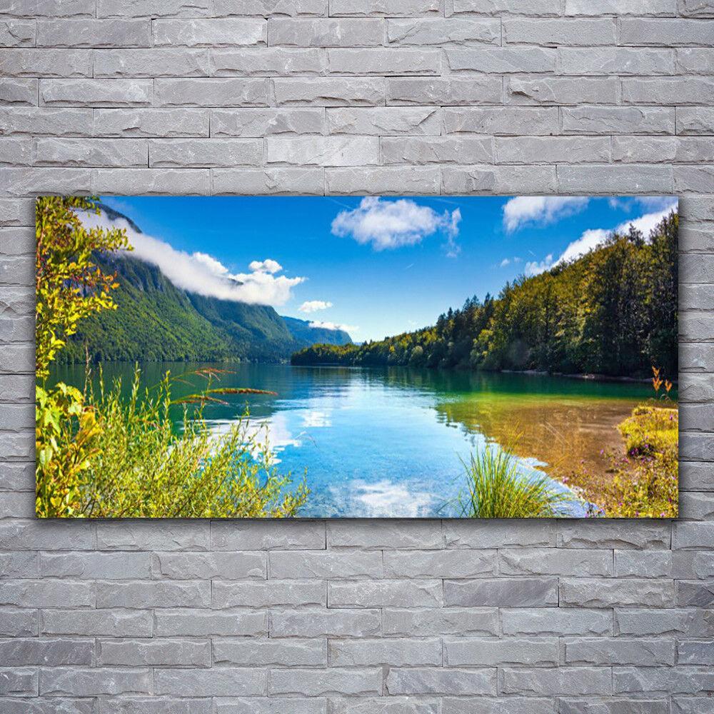 Photo sur toile Tableau Image Impression 120x60 Nature Montagnes Forêt Lac