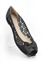 Black Lace Wedding Peep Toe Ballerina Bridal Flat Pumps UK 3 4 5 6 7 7.5 8