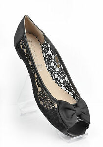 aec387100f7 Black Lace Wedding Peep Toe Ballerina Bridal Flat Pumps UK 3 4 5 6 7 ...