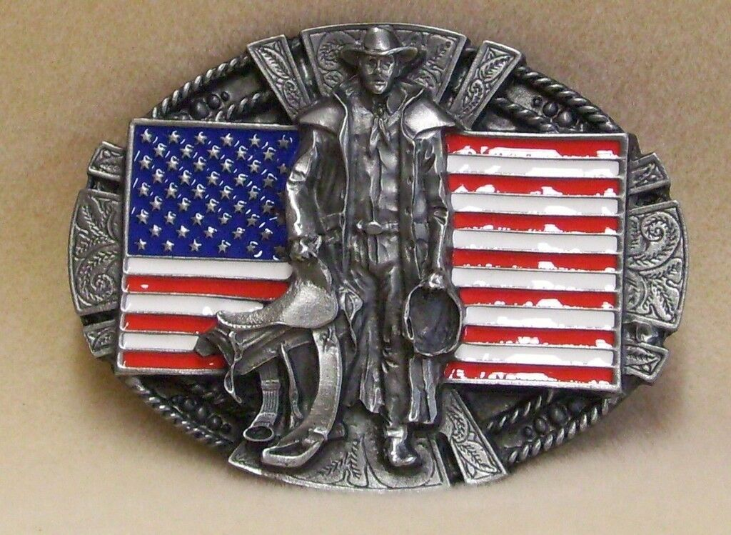 Belt Buckle US Flag and Cowboy with Rope and Saddle Scrolled Pewter Oval