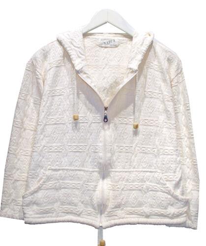 Vintage NAZCA Ivory Peruvian Cotton HOODIE sz L