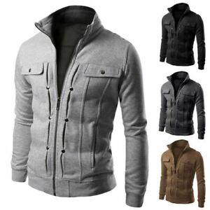 Mens-Slim-Fit-Stand-Collar-Coat-Tops-Military-Jacket-Winter-Outwear-Blazer-Black