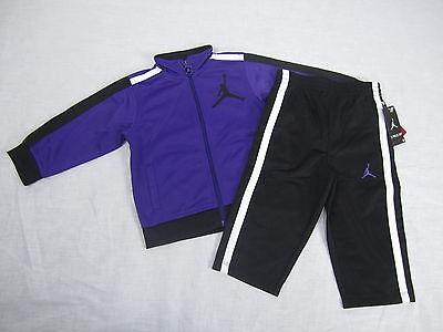 a6bdf83d54 NWT Infant Boy's 2-Piece Tricot Nike Jordan Tracksuit Set Purple Black SIZES