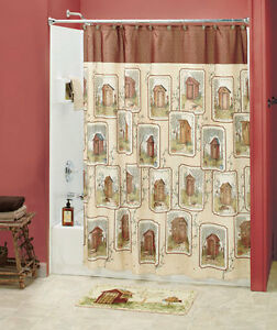 Image Is Loading 18 Pc Set Lodge Country Outhouse Shower Curtain