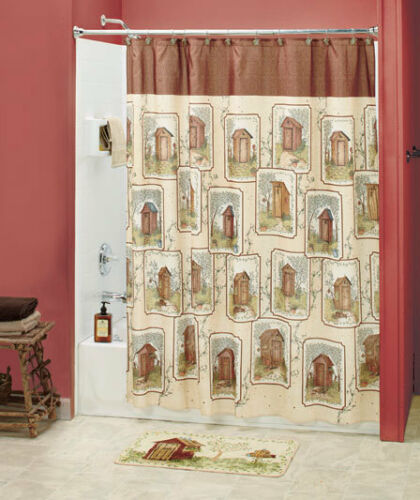 18-Pc Set Lodge Country Outhouse Shower Curtain with Bath Accessory Linda Spivey