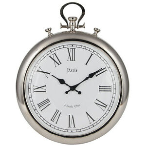 Silver metal stopwatch wall clock roman numerals paris high quality unique 48cm ebay - Giant stopwatch wall clock ...