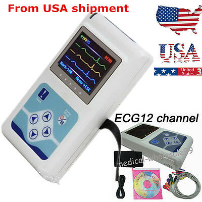 Digital 12-channel Holter System Monitor electrocardiogram Recorder Software kit