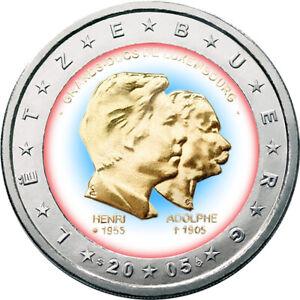 2-Euro-Gedenkmuenze-Luxemburg-2005-oloriert-m-Farbe-Farbmuenze-Henri-amp-Adolphe
