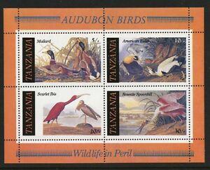 Birds souvenir sheet Audubon art mnh 1986 Tanzania #309a Mallard Eider Ibis