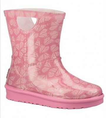 NIB Ugg Kids Raheem Butterflies Pull-on Rain Boot Pink Azalea Size 8 U.s Toddler