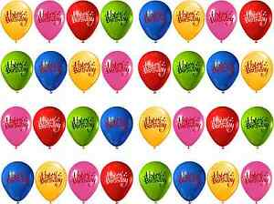 Image Is Loading 32 X Happy Birthday Balloons Edible Rice Wafer