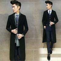 Men Warm Winter Lapel Long Wool Blend Coat Parka Outerwear Suit Black Overcoat B