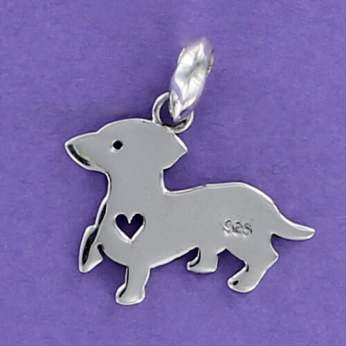 Dachshund with Heart Cutout Pendant Sterling Silver for Bracelet Dog Puppy Doxie