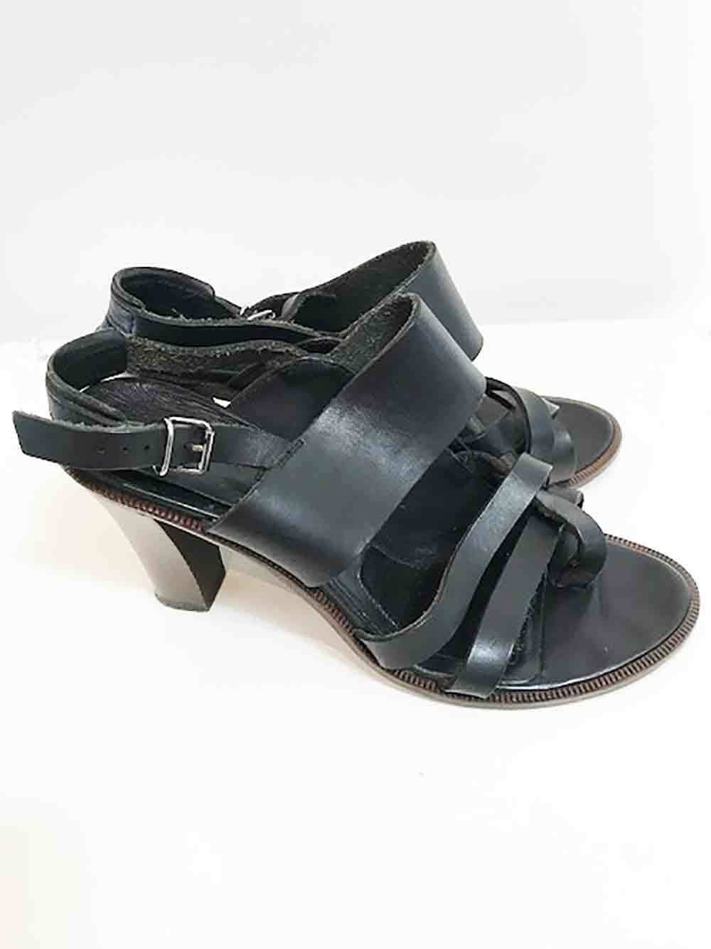Designer  Veronique Branquinho Size 37.5 Sandal Black Leather Women's shoes