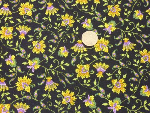 Quilting Fabric Tuscany Style Yellow Flowers Black BG 100/% Cotton FQsBKF4