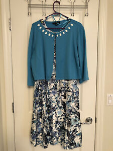 Perceptions Women's 2X Blue Floral Dress and Cardigan