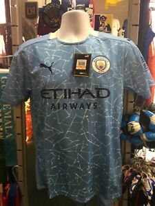 Puma Manchester City Home 20-21 Blue White Soccer Jersey Size L Men's Only