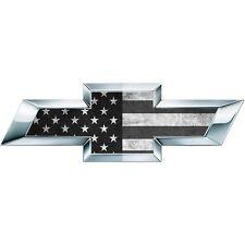 2 B/W American Flag US Universal Chevy Bowtie Vinyl Sheets Emblem Overlay