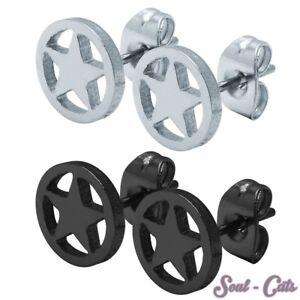 1-Paar-Ohrstecker-Ohrringe-Piercing-Stern-Sterne-schwarz-silber-Edelstahl