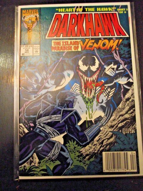 Darkhawk #14 Heart of the Hawk part 5 Venom appears Newsstand edition FN\VF