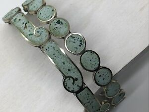 Mexico-Taxco-Sterling-925-Bracelet-Lot-Turquoise-Green-Inlay-Circle-Wave-20-5g