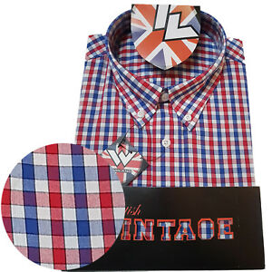 Warrior-UK-England-Button-Down-Shirt-FAWKES-Slim-Fit-Skinhead-Mod-Retro