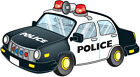 IRON ON TRANSFER FOR ANY COLOUR TOP POLICE CAR SIZE: 15CM X 8CM