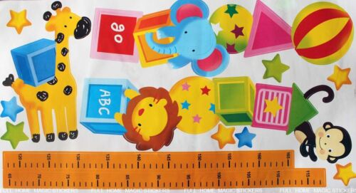 Animal Height Chart Measure Kids//Children Wall Stickers Nursery Decal Paper
