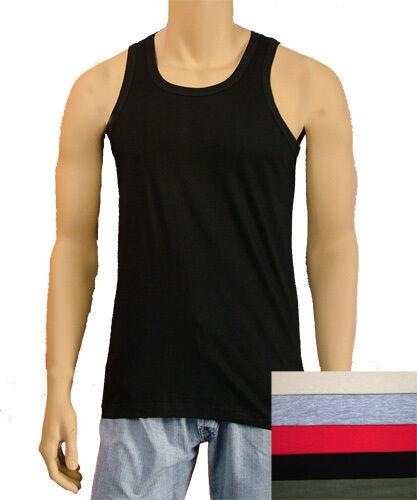 Mens 100/% Cotton Fashion Colour Single Jersey Underwear Vest
