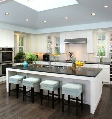 7ft White Kitchen Island With Black Quartz Counter Top Made In Us Ebay