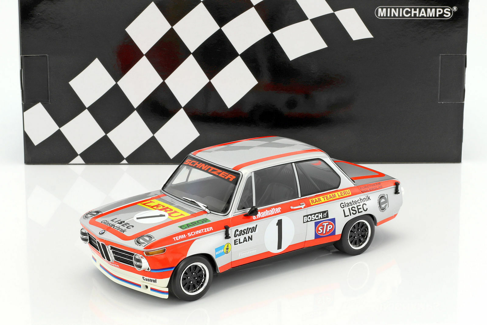 Minichamps BMW 2002 TI WINNER 1000KM OSTERREICHRING 1974 Manhalter  1 1:18*Nuovo
