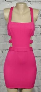 NBD X NAVEN Pink Sleeveless Dress Medium Strappy Back and Sides Exposed Zipper