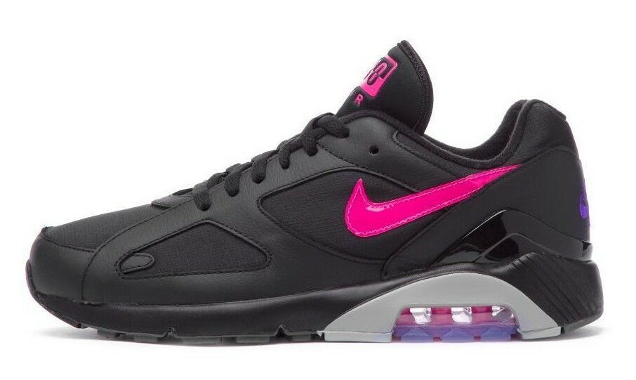 Nike Men's AIR MAX 180 Shoes Black/Pink Blast-Wolf Grey AQ9974-001 c