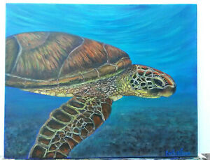 Original-Acrylic-Painting-Beach-Sea-Turtle-Marine-Life-16x20-Stretched-Canvas