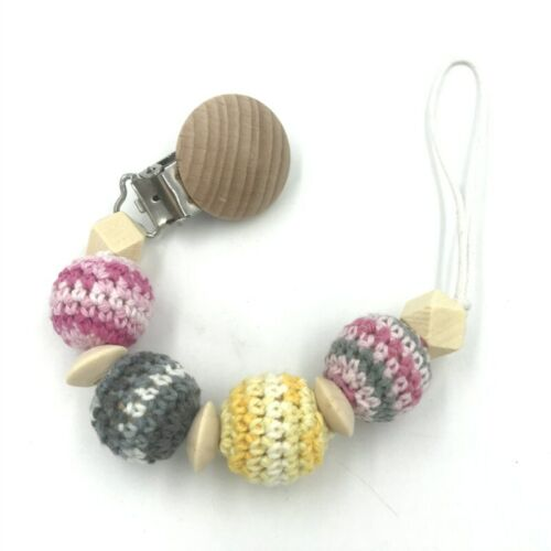 Natural safety wood Baby Pacifier clip Crochet Round beads Baby dummy Clip DIY