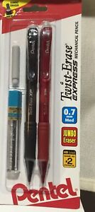 bfbe67c8761b4 Details about (2)Pentel Twist-Eraser Express Mechanical Pencil w Eraser +  12 Refill Lead 0.7mm