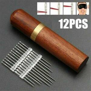 Practical-Stainless-Steel-Self-threading-Needles-Opening-Sewing-Darning-Sets-NEW