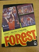 20/10/1979 Nottingham Forest v Bolton Wanderers  (Excellent Condition)