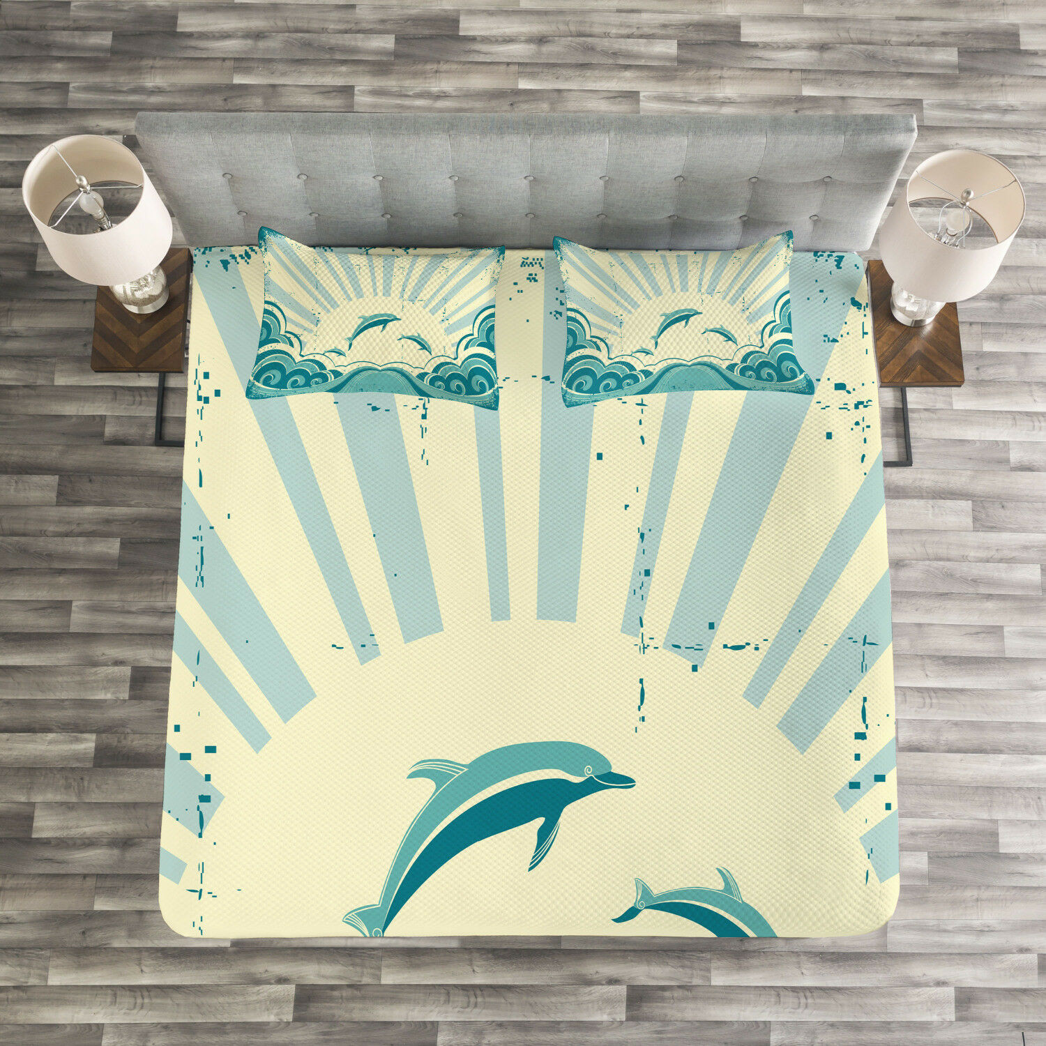 Dolphin Quilted Bedspread & Pillow Shams Set, Nautical Inspirations Print