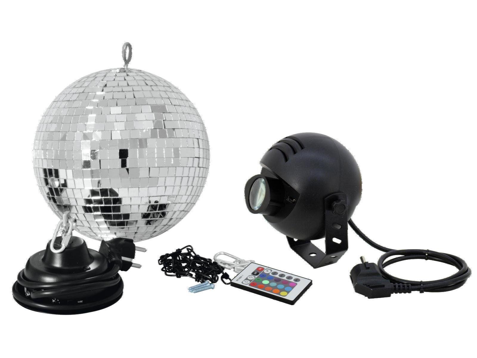 Spiegelkugel Discokugel Mirror Ball Set Party-Paket mit LED RGB Spot PST-9W & FB
