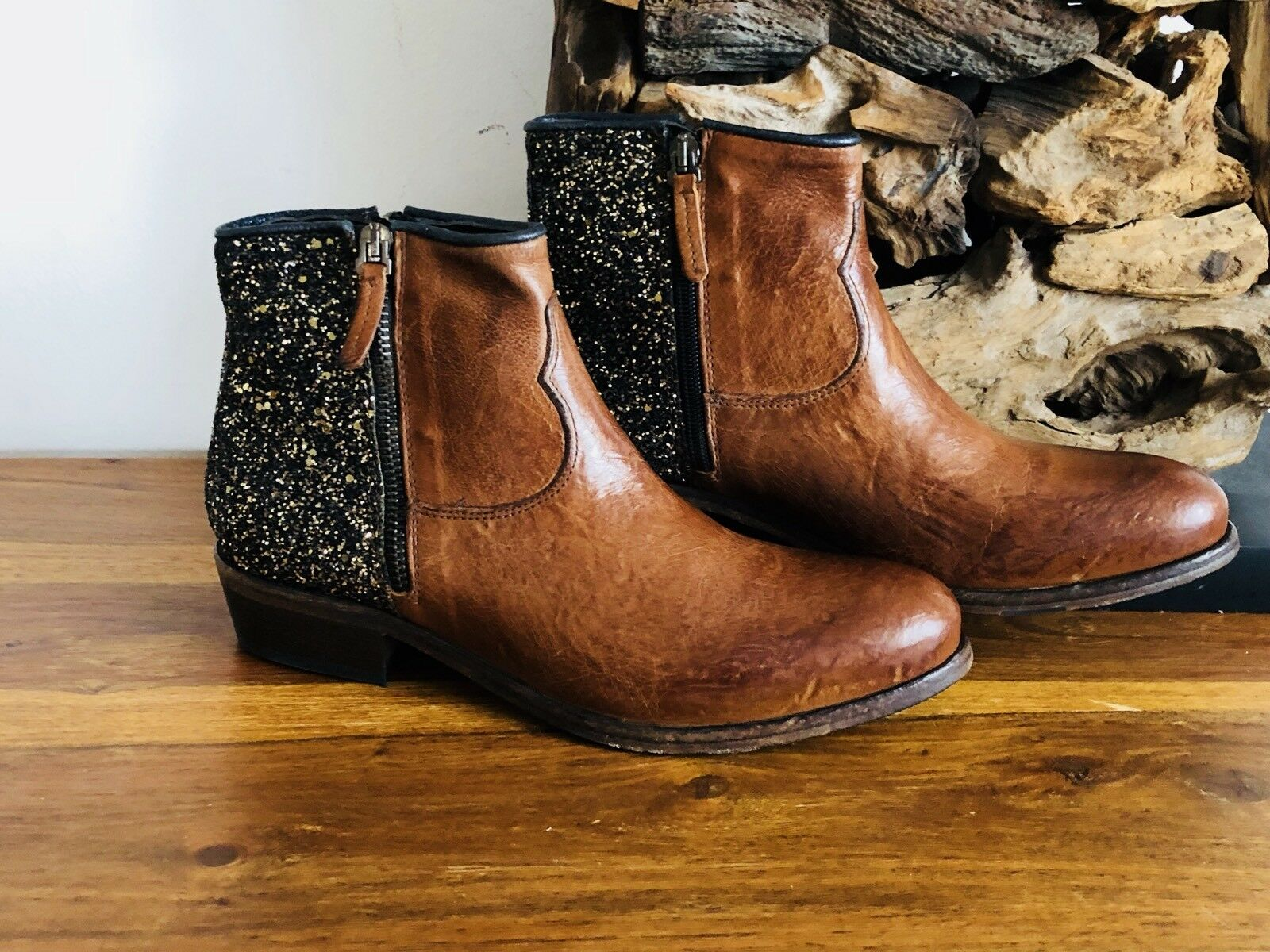 NOCLAIM mega Boots Stiefel Leder Gr Biker Glitzer braun NEU Gr Leder 40 SH11CS 1730fc