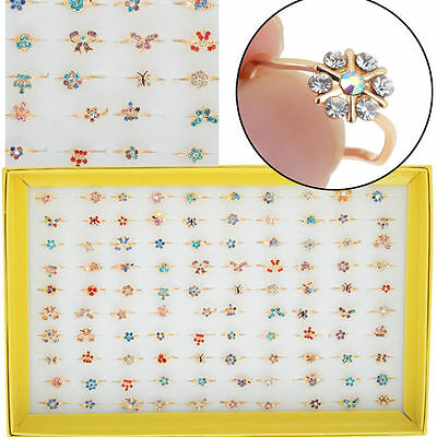 5/10/20X Wholesale Kids/Childrens Gift Mixed Lots Bulks Alloy Crystal Rings HOT