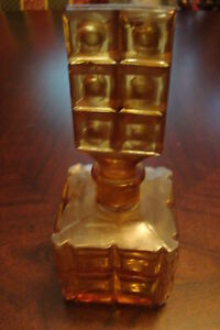 """Vintage Pressed Amber Glass Perfume Bottle 1920's, 6 """" tall"""