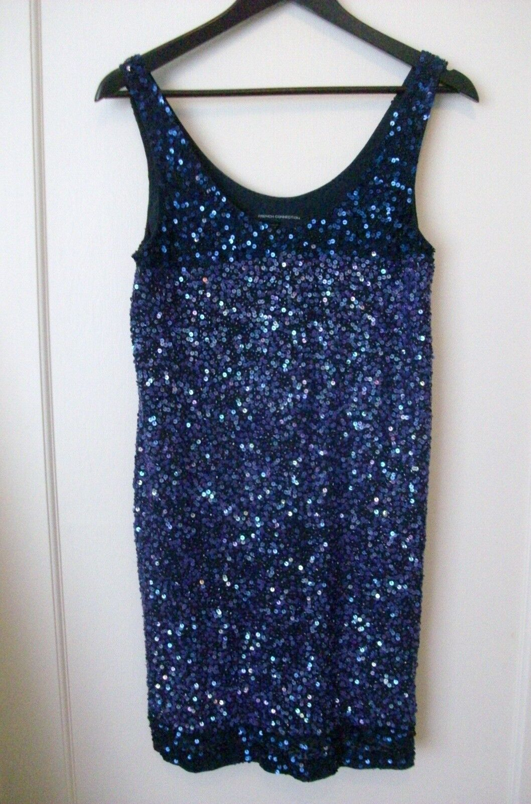 FRENCH CONNECTION SEQUIN DRESS 8 RRP  SEQUINNED INDIGO blueE PURPLE PARTY