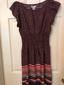 323830870 Pinky Dress Juniors size Medium * Navy Blue Pink Red Polka Dots ...