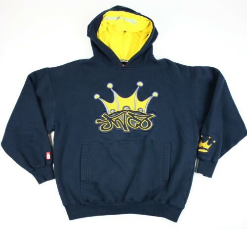 Vintage JNCO Jeans MEDIUM Navy Blue Hoodie Embroid