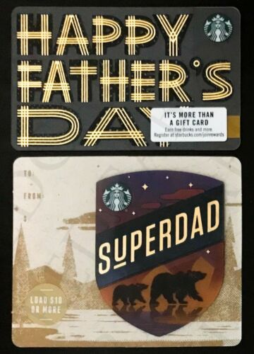 Series 6166 Cards NEW Starbucks 2019 Fathers Day Standard /& Mini Gift Card